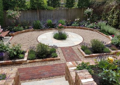 Landscape Design Brighton. Steps lead from the house to the beautiful gravelled area below