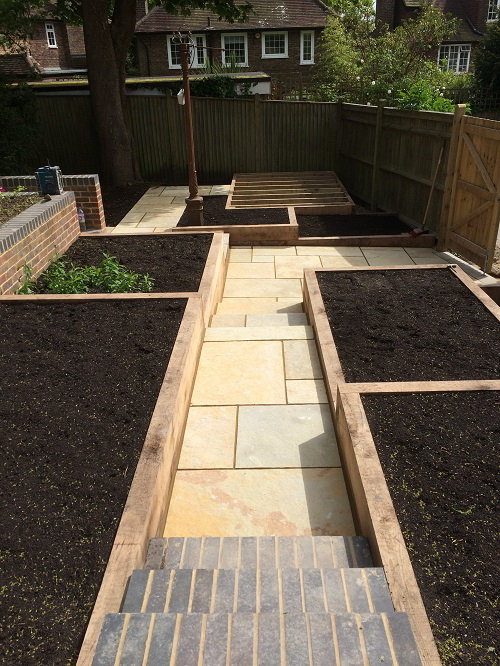 Raised beds and natural stone steps