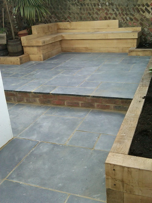 Black limestone stepped patio
