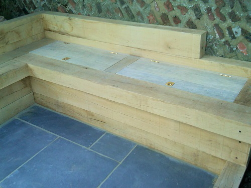 Oak garden storage benches