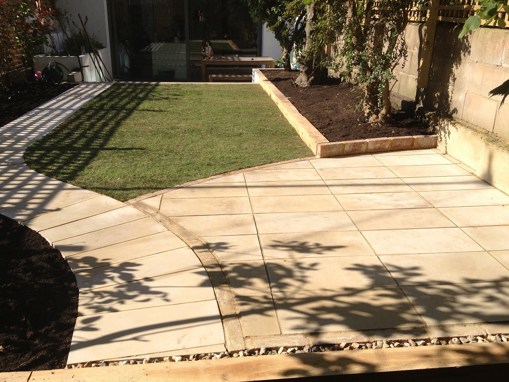 Yellow limestone patio and path