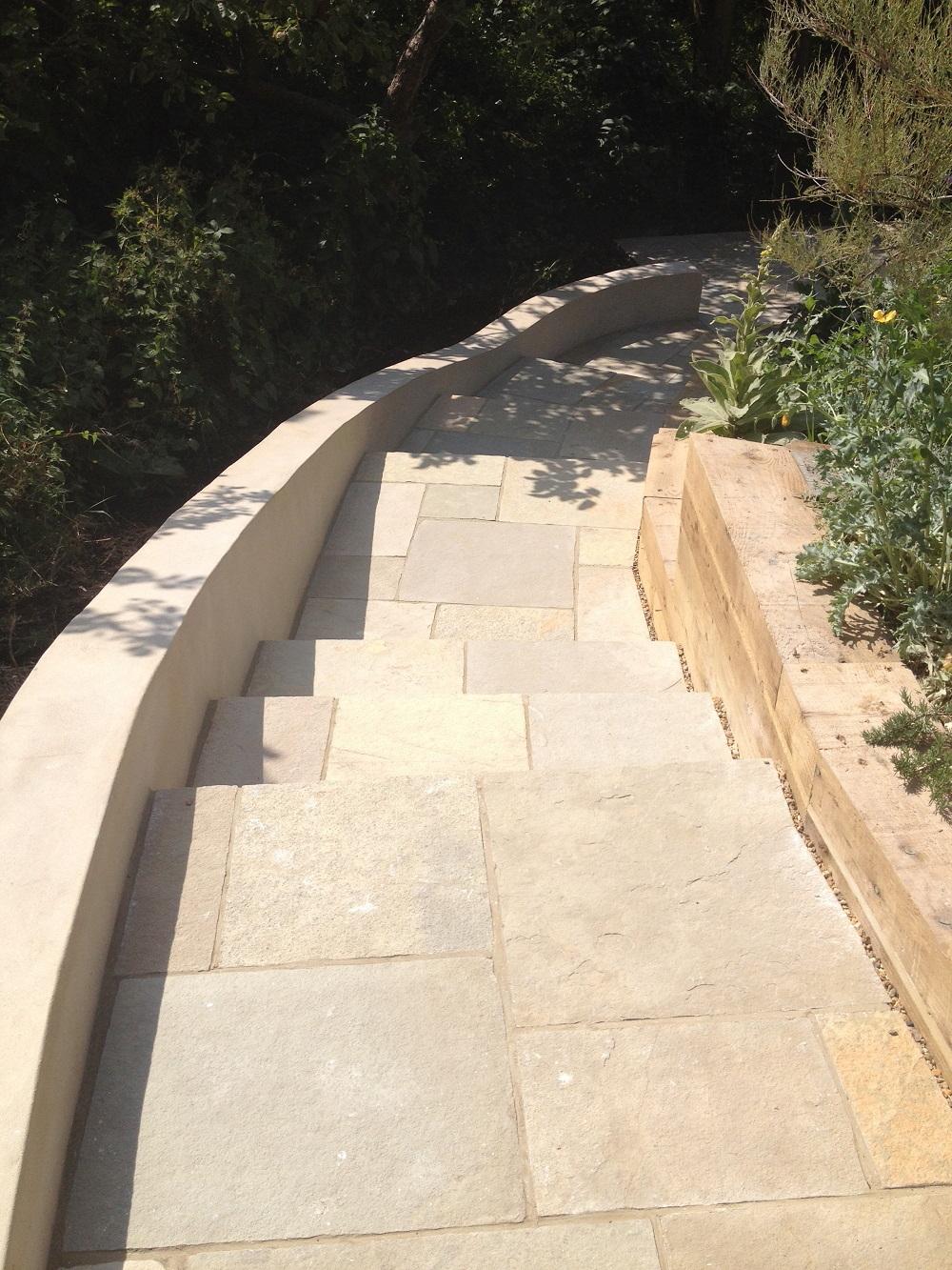 Yellow limestone wide garden steps