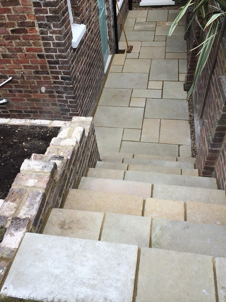 Yellow limestone and Victorian brick garden steps
