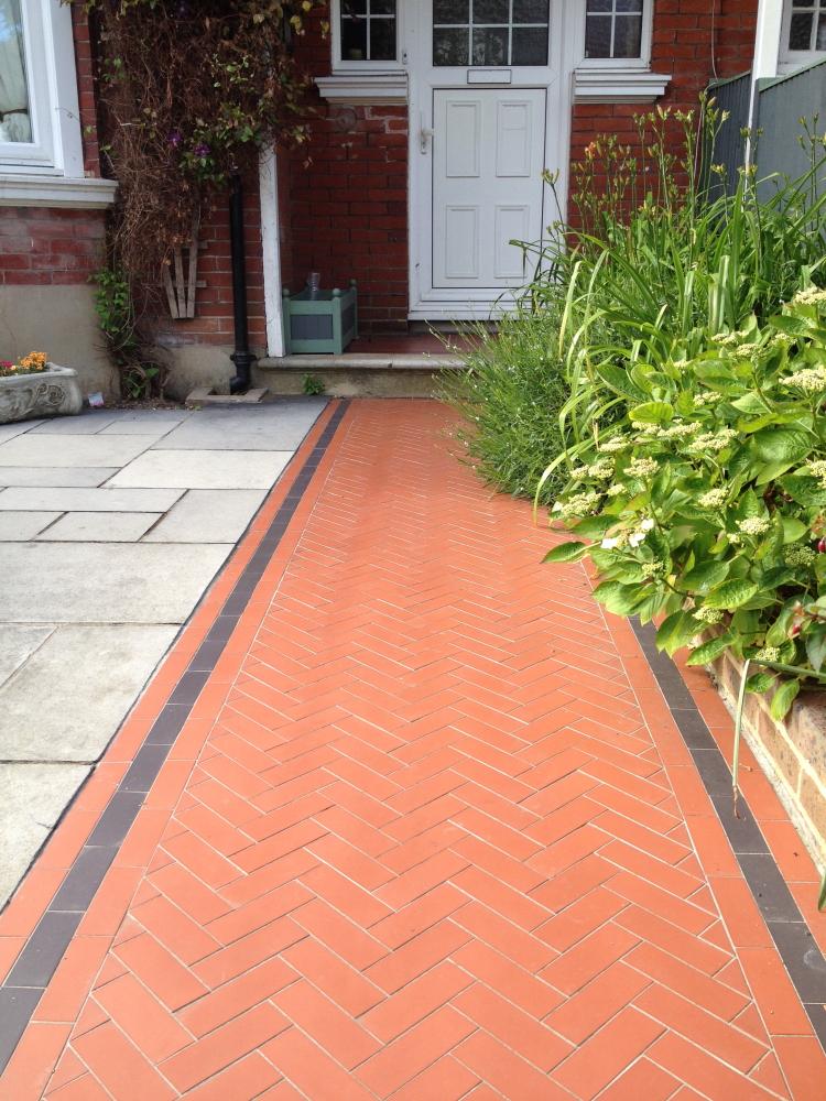Smart Herringbone brick garden path and limestone patio