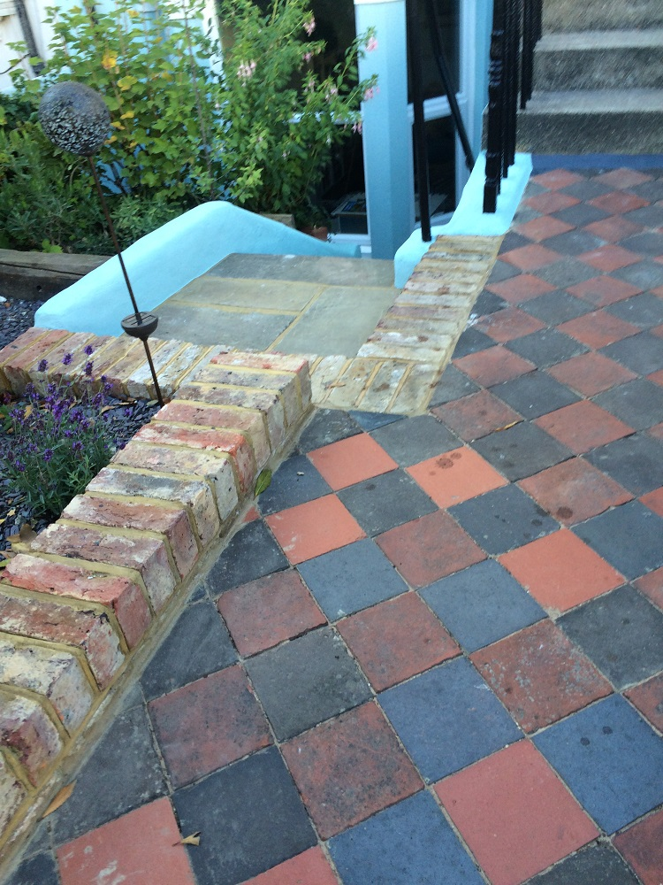 Mixed square paver garden path